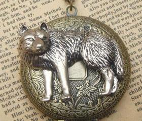 Huge Steampunk Wolf Locket Necklace Vintage Style Original Design