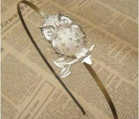Steampunk White Owl Headband Vintage Style Original Design